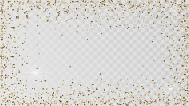 poured golden confetti - confetti stock illustrations
