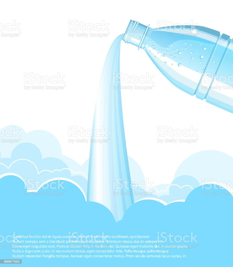 Pouring Clean Water BackgroundVector Bottle