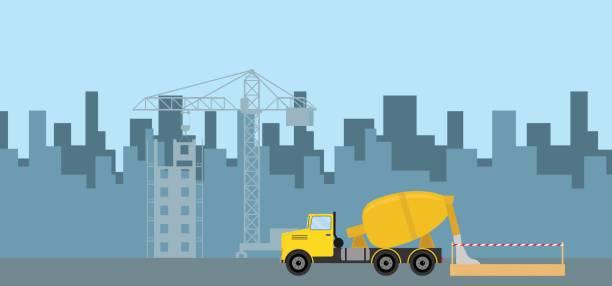 Gießen von Beton am Bau. Die konkrete LKW gießt Beton in die Schalung. Flache Bauweise, Vektor-Illustration, Vektor. – Vektorgrafik