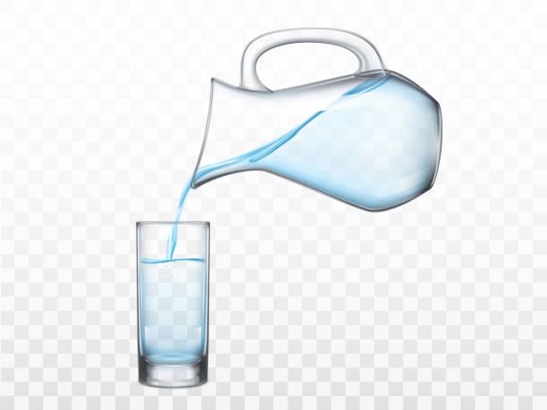 Gießen von Süßwasser aus Krug in Glasvektor – Vektorgrafik