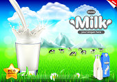 Pouring milk ads. Cows on green field vector background