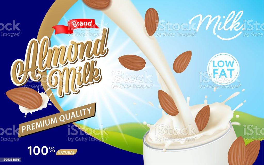 Pouring milk and almond into glass with a splash on blue background template. royalty-free pouring milk and almond into glass with a splash on blue background template stock vector art & more images of advertisement