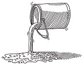 Hand-drawn vector drawing of a Pouring Paint Bucket. Black-and-White sketch on a transparent background (.eps-file). Included files are EPS (v10) and Hi-Res JPG.