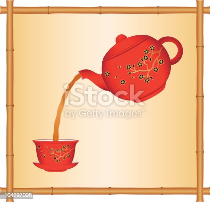 Pouring Tea From A Chinese Teapot Stock Vector Art & More ...