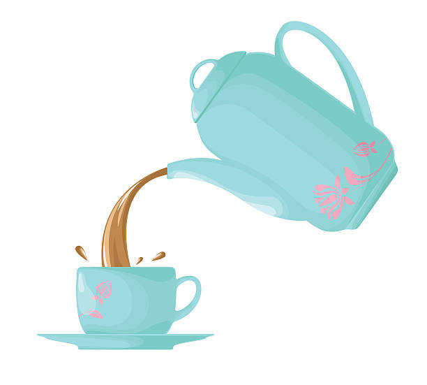 Pouring tea,coffee from the kettle into the cup. vector art illustration