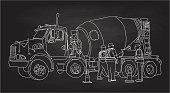 Chalkboard illustration of a cement truck