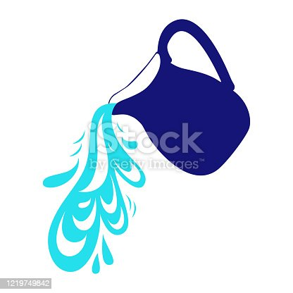 istock pouring water from a jug. vector illustration. 1219749842