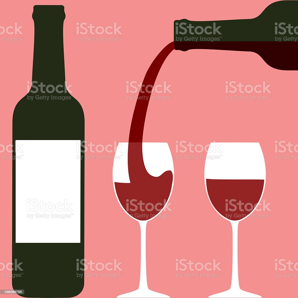 Pouring wine vector art illustration