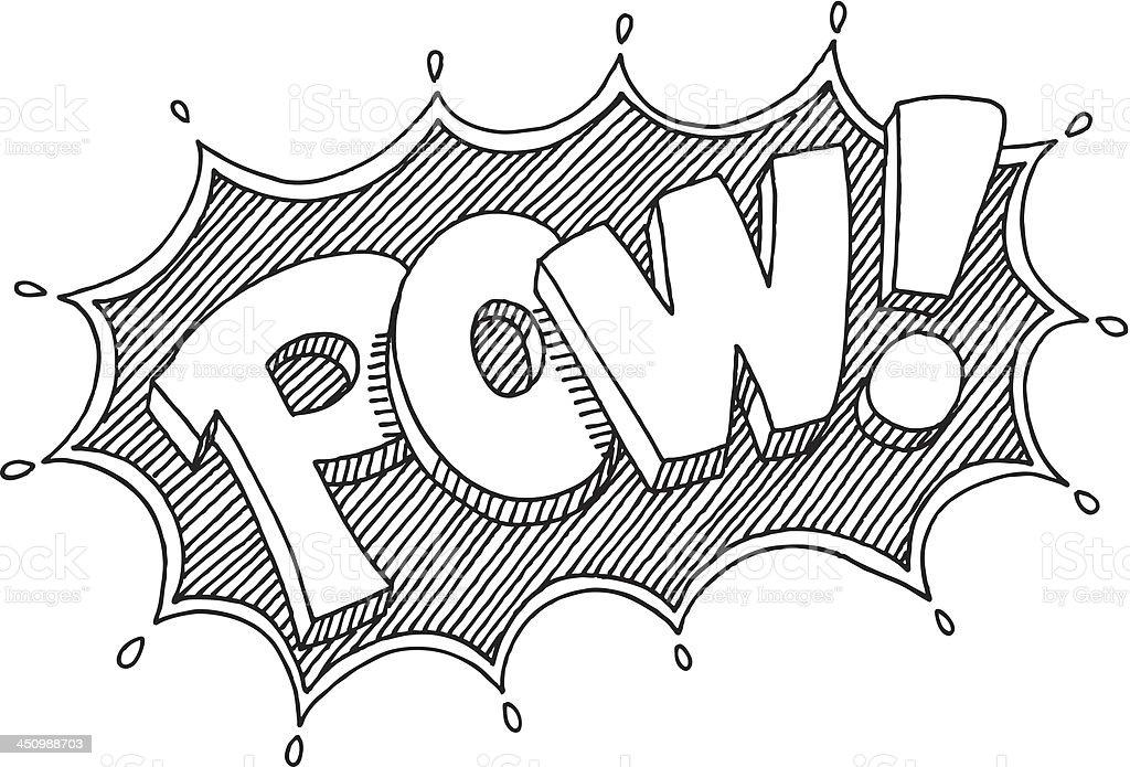 Pow! Comic Lettering Drawing vector art illustration