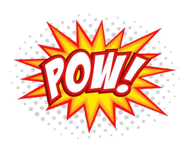 stockillustraties, clipart, cartoons en iconen met pow komische splash zeepbel tekst - punch