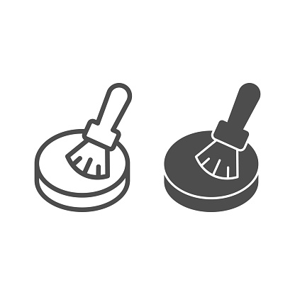Powder and brush line and solid icon, makeup routine concept, powder for face sign on white background, Makeup brush and compact powder icon in outline style for mobile, web design. Vector graphics.