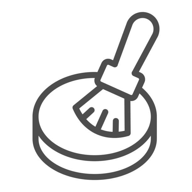 illustrations, cliparts, dessins animés et icônes de icône de ligne de poudre et de brosse, concept de routine de maquillage, poudre pour le signe de visage sur le fond blanc, brosse de maquillage et icône compacte de poudre dans le modèle de contour pour mobile, conception de web. graphiques vectoriels. - abstract mirror