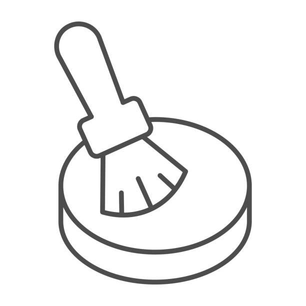 illustrations, cliparts, dessins animés et icônes de icône mince de ligne de poudre et de brosse, concept de routine de maquillage, poudre pour le signe de visage sur le fond blanc, brosse de maquillage et icône compacte de poudre dans le modèle de contour pour mobile, conception de web. graphiques vector - abstract mirror