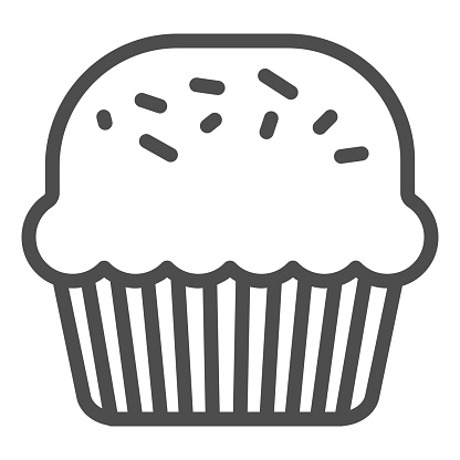 Powder cake line icon. Muffin for Saint Patrick day celebration outline style pictogram on white background. Mini homemade dessert for party for mobile concept and web design. Vector graphics.