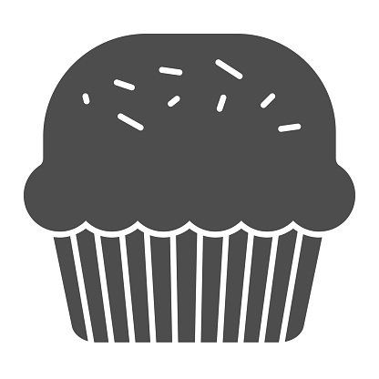 Powder cake solid icon. Muffin for Saint Patrick day celebration glyph style pictogram on white background. Mini homemade dessert for party for mobile concept and web design. Vector graphics.