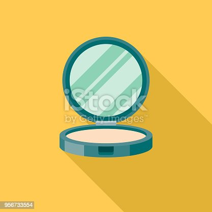 istock Powder Compact Flat Design Beauty Icon with Side Shadow 956733554