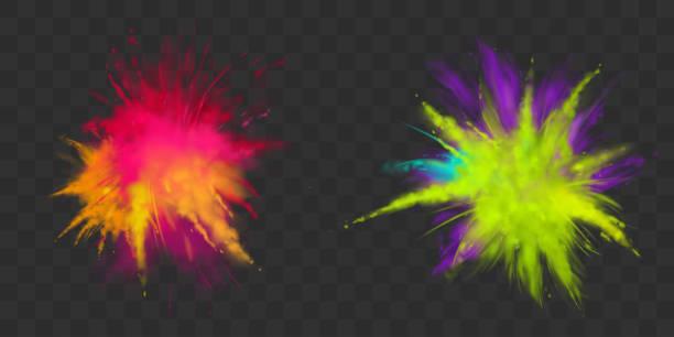 bildbanksillustrationer, clip art samt tecknat material och ikoner med pulver holi färger som isolerade, dye för festivalen - beskrivande färg
