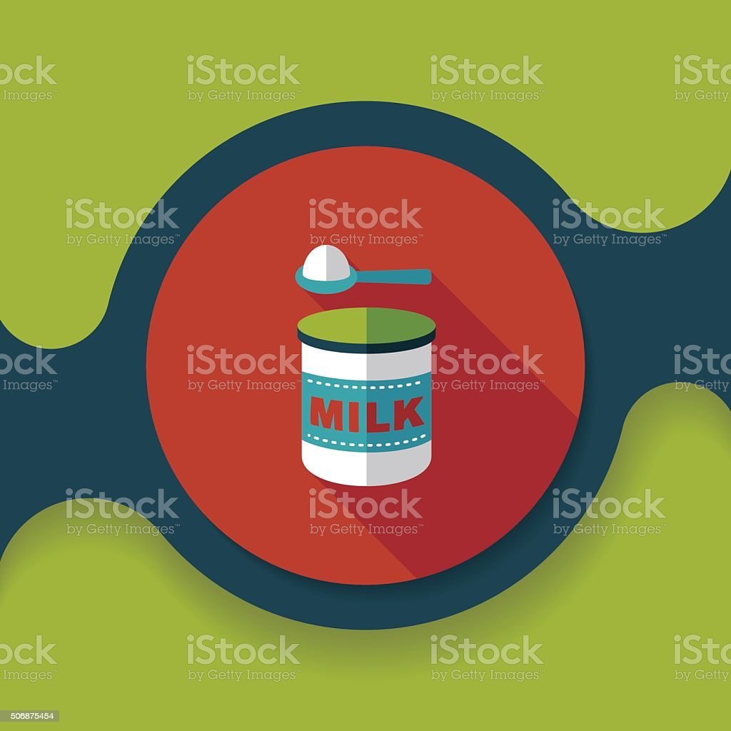 Powdered milk dairy food flat icon with long shadow vector art illustration