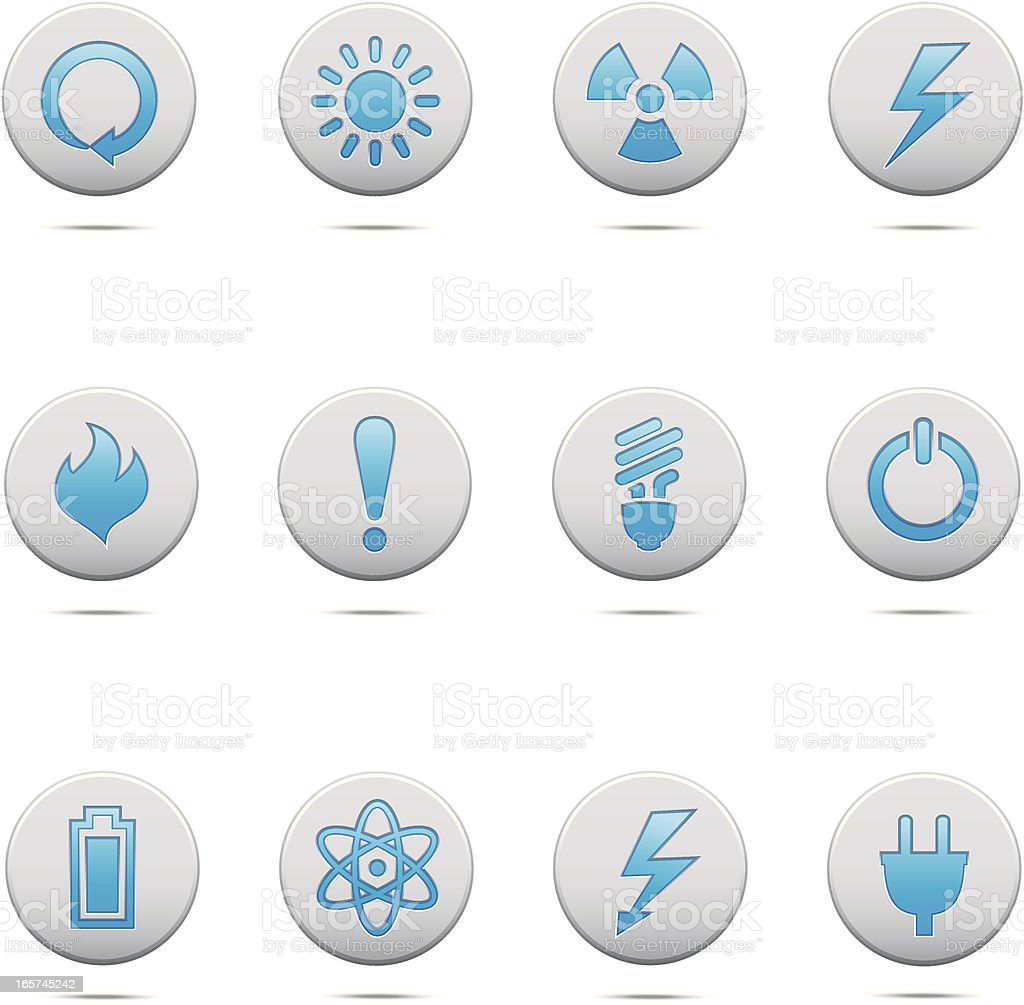 Power and Electricity Buttons vector art illustration