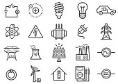 Power and Electricity Line Icons Set