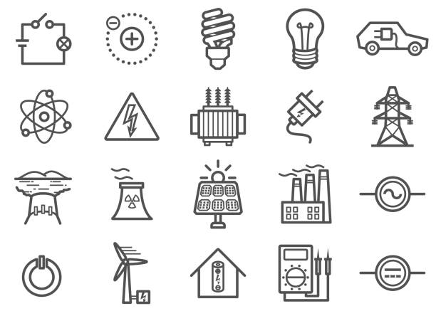 güç ve elektrik hattı icons set - elektrik stock illustrations