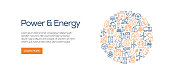 Power and Energy Banner Template with Line Icons. Modern vector illustration for Advertisement, Header, Website.