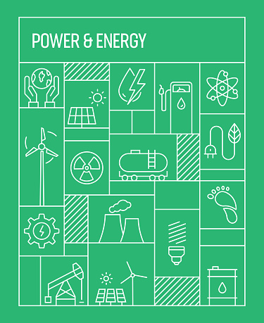 Power and Energy Concept. Geometric Retro Style Banner and Poster Concept with Power and Energy Line Icons