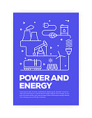 Power and Energy Concept Line Style Cover Design for Annual Report, Flyer, Brochure.