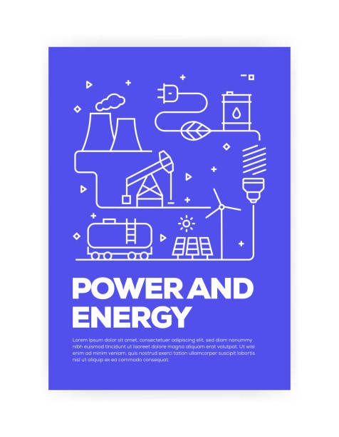 Power and Energy Concept Line Style Cover Design for Annual Report, Flyer, Brochure. Power and Energy Concept Line Style Cover Design for Annual Report, Flyer, Brochure. solar panels illustrations stock illustrations