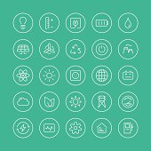 Power and energy flat line icons
