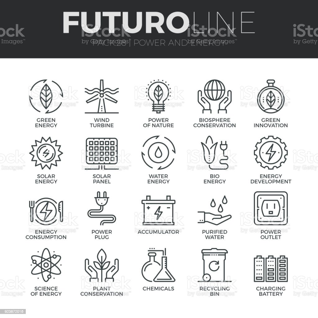 Power and Energy Futuro Line Icons Set vector art illustration