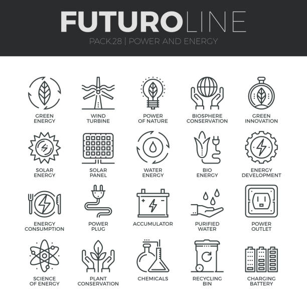 Power and Energy Futuro Line Icons Set Modern thin line icons set of eco friendly green energy, clean sources of power. Premium quality outline symbol collection. Simple mono linear pictogram pack. Stroke vector symbol concept for web graphics. sustainable energy stock illustrations