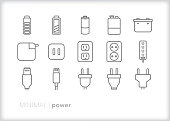 Set of 15 power, battery, and energy line icons for showing phone or electronic charge amount