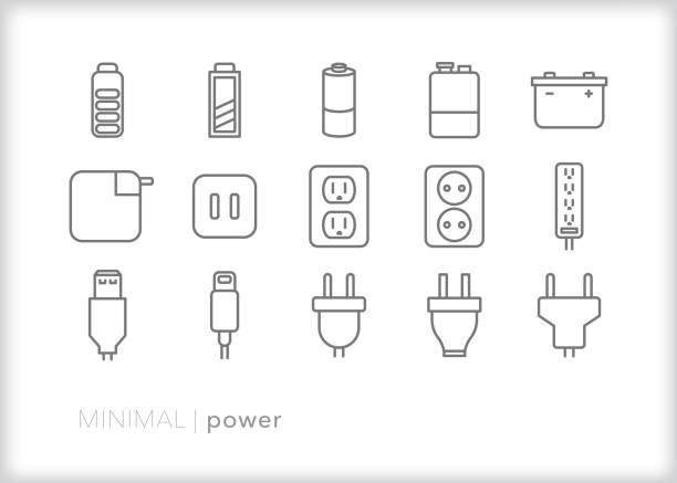 Power and energy line icon set Set of 15 power, battery, and energy line icons for showing phone or electronic charge amount cell phone charger stock illustrations