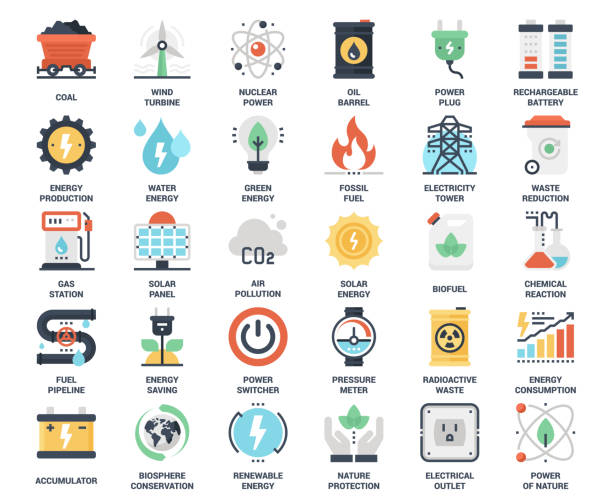 Power and Energy Vector set of power and energy flat web icons. Each icon neatly designed on pixel perfect 48X48 size grid. Fully editable and easy to use. oil and gas stock illustrations