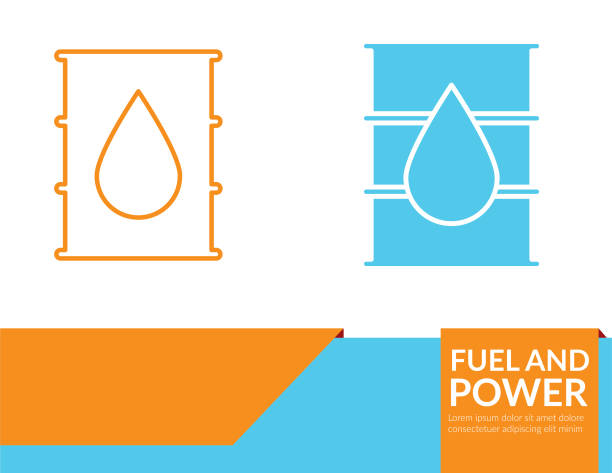 Power and Fuel Icon Banner - Oil Barrel Power and Fuel Icon Banner - Oil Barrel oil drum stock illustrations