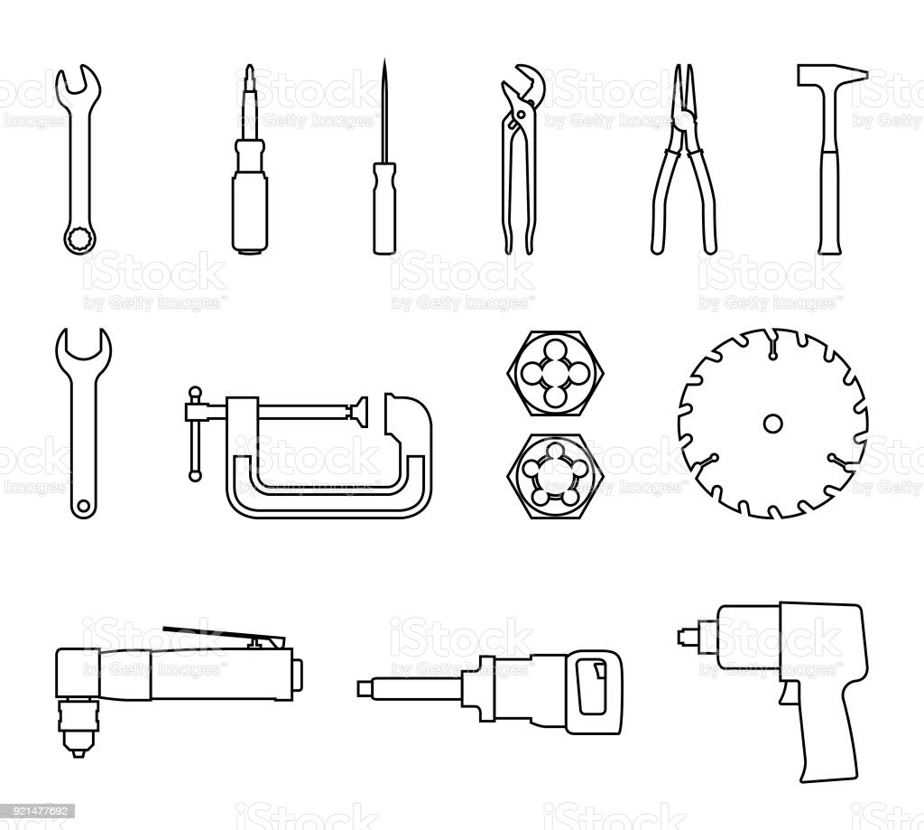 Power and hand tools icon set. Vector thin line vector art illustration