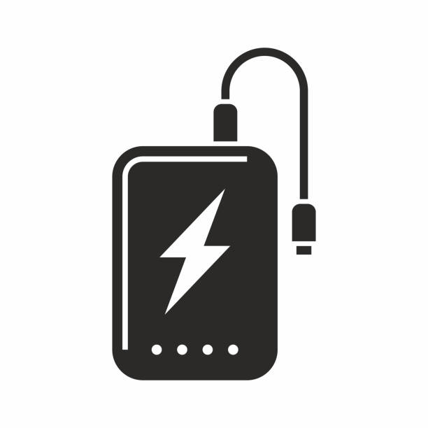 Power bank icon Vector icon isolated on white background cell phone charger stock illustrations