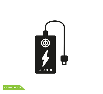 Power bank icon vector logo template