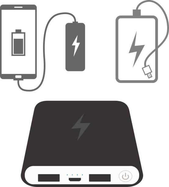 Power bank icons Power bank icons cell phone charger stock illustrations