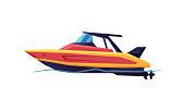 istock Power Boat or Speedboat, Modern Nautical Motorized Transport, Summer Vacation Design Element Vector Illustration 1222740973