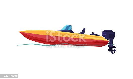istock Power Boat, Speedboat with Outboard Motor, Modern Nautical Motorized Transport Vector Illustration 1222740998