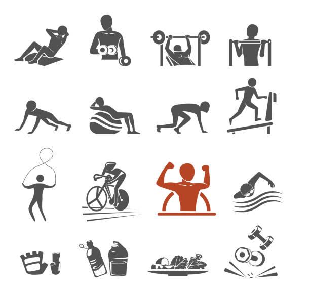 ilustrações de stock, clip art, desenhos animados e ícones de power body icon concept. gym class by yourself. exercise project. - swim arms
