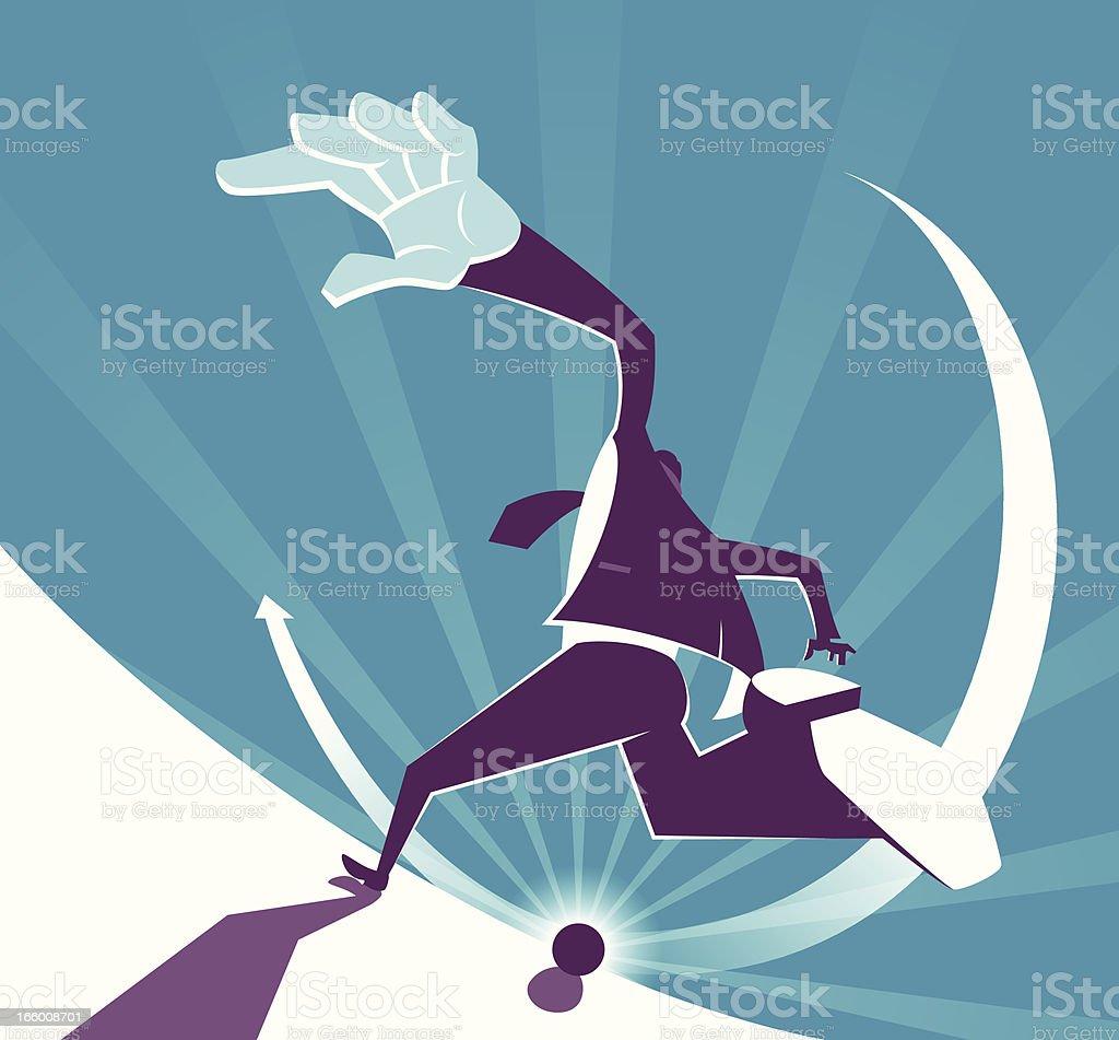 Power Businessman Kicking Target vector art illustration