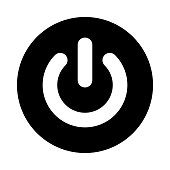 Power button circle icon. Black, round, minimalist icon isolated on white background. Power on off button simple silhouette.