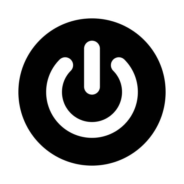 power button circle icon. black, round, minimalist icon isolated on white background. power on off button simple silhouette. - electronics stock illustrations