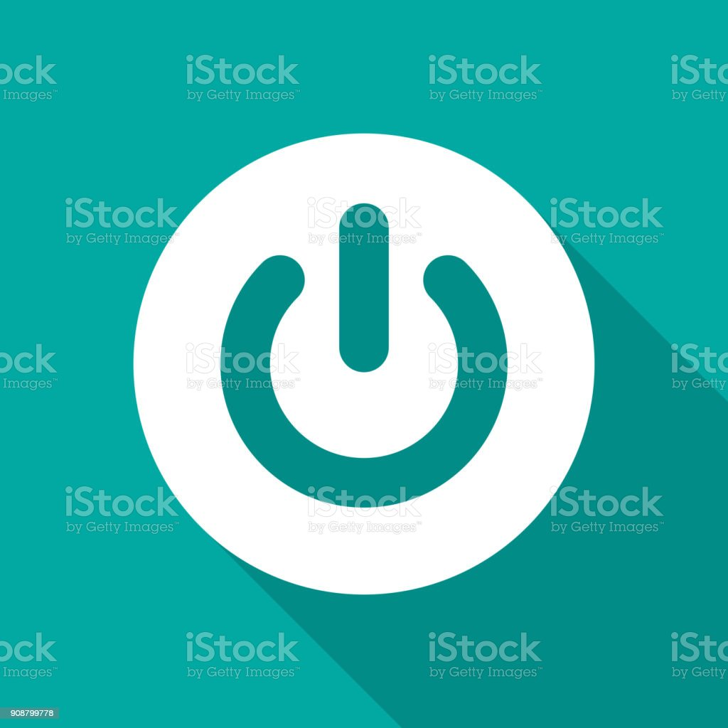 Power button icon with long shadow. Flat design style. Power on off button simple silhouette.