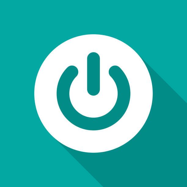 """power-button-symbol mit langen schatten. flache design-stil. ausschalten auf schaltfläche """"einfachen silhouette. - schalter stock-grafiken, -clipart, -cartoons und -symbole"""