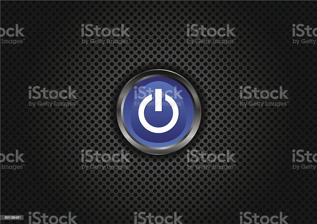 Power button on perforated grill royalty-free stock vector art