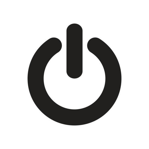 güç düğmesi, anahat, izole vektör - yakıt ve enerji üretimi stock illustrations